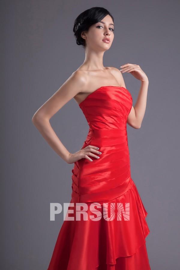 Robe bal bustier rouge style trompette à volants