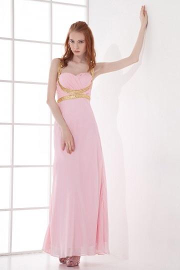 Robe rose de soirée Empire Ligne A en mousseline ornée de paillette