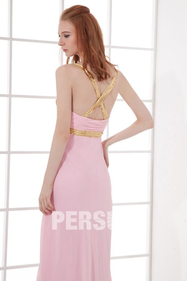 Robe bal rose longue ornée de paillettes à dos nu