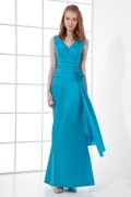 V neck Falbala Fishtail Taffeta Long Formal Bridesmaid Dress
