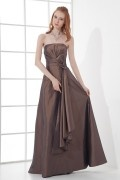 Strapless Empire Waist Bowknot Waist Band Taffeta Long Formal Bridesmaid Dress