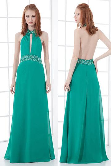 Sexy robe de soirée verte dos nu en mousseline V plongeant ornée de bijoux, paillette