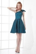 Pretty A line One Shoulder Bow Backless Taffeta Short Cocktail Dress