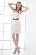 One Shoulder Handmade flower Ruching Wraped Contrast Colors Satin Short Formal Bridesmaid Dress