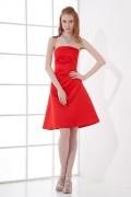 Simple A line Strapless Satin Knee length Formal Bridesmaid Dress