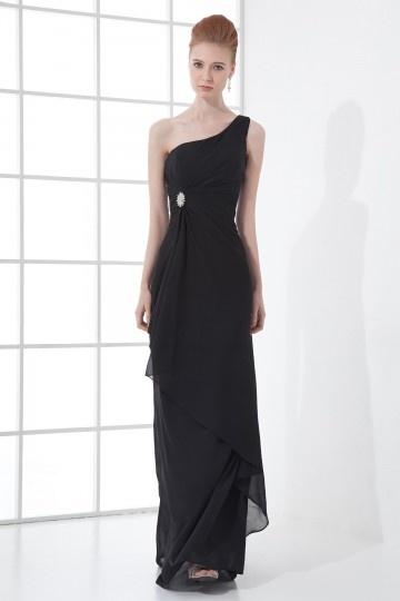 Noire robe de soirée asymétrique longue ornée de strass en mousseline