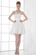 Strapless Empire Bow Lacework Taffeta Short Formal Dress