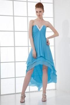Robe courte bleu cocktail décolleté en V sans bretelle en mousseline