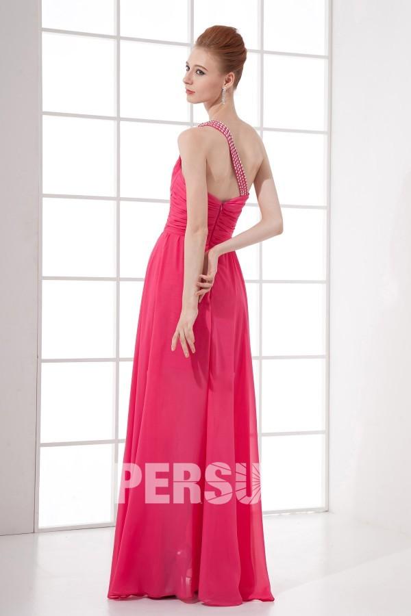 Robe cocktail plissée courte devant longue derrière épaule asymétrique