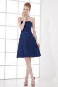 Simple A line Ruched Taffeta Knee length Formal Bridesmaid Dress