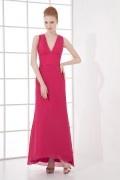 Simple and elegant A line V neck Backless Chiffon Long Formal Bridesmaid Dress
