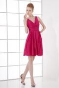 Simple A line V neck Empire Waist Taffeta Short Formal Bridesmaid Dress