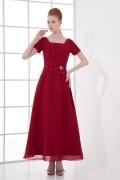 Robe longue rouge pour mère de la mariée décolleté carré ornée de paillette