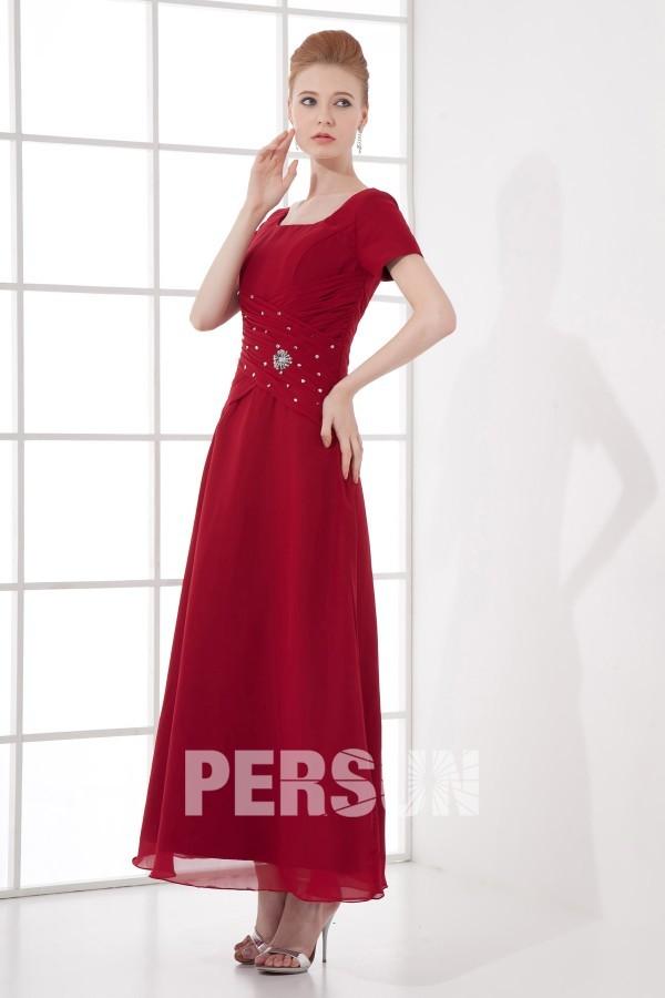 robe longue rouge pour m re de la mari e d collet carr orn e de paillette. Black Bedroom Furniture Sets. Home Design Ideas