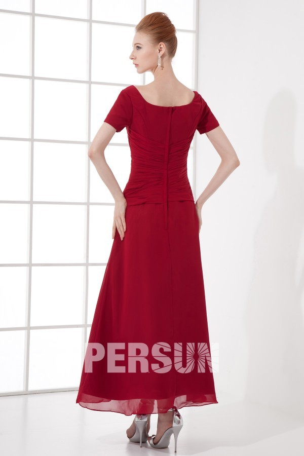 Robe bordeaux au cheville pour mère de mariée à manche courte