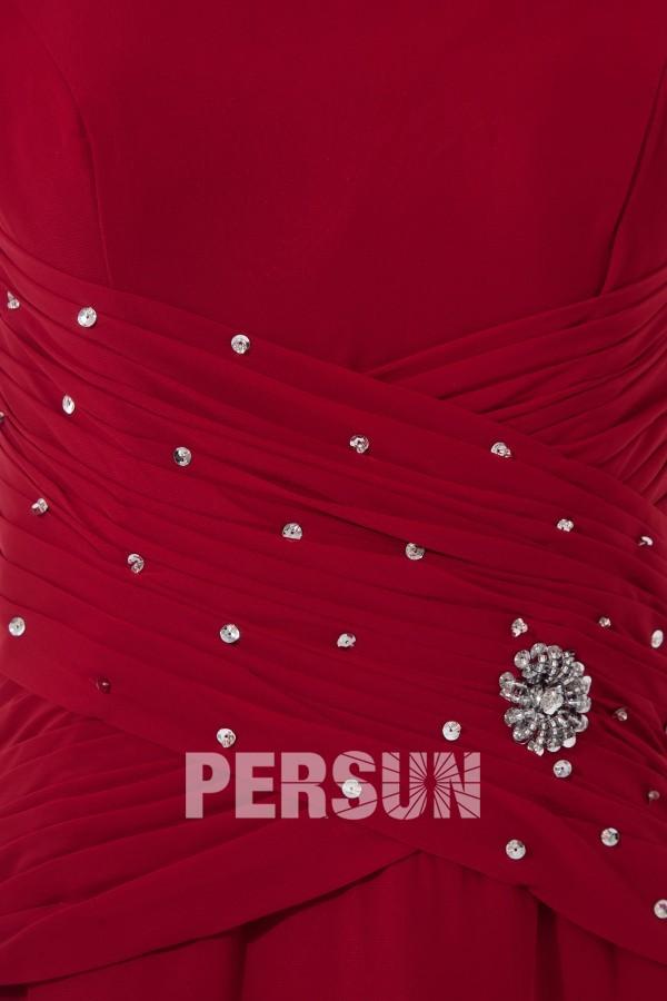 Robe bordeaux au cheville pour mère de mariée à manche courte