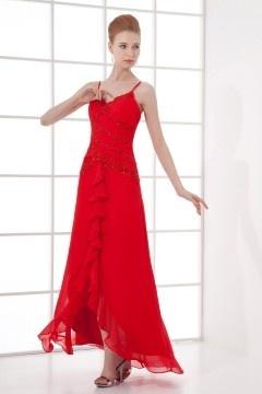 Robe de plage rouge longue décolleté en V avec bretelle spaghetti
