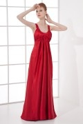 Sexy A line Round Neck Backless Empire Waist Pleated Elastic Satin Long School Formal Dress