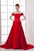 Elegant A line Boat Collar Knowbow Waist Band Satin Trailing Formal Dress
