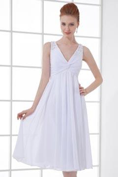 Robe de dame d'honneur blanche col en V Empire ornée de bijoux