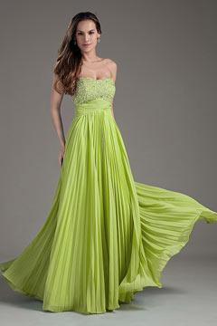 Robe de soirée verte empire bustier pailletté