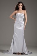 Strapless Sweetheart Elastic Woven Satin Mermaid Long Evening Dress