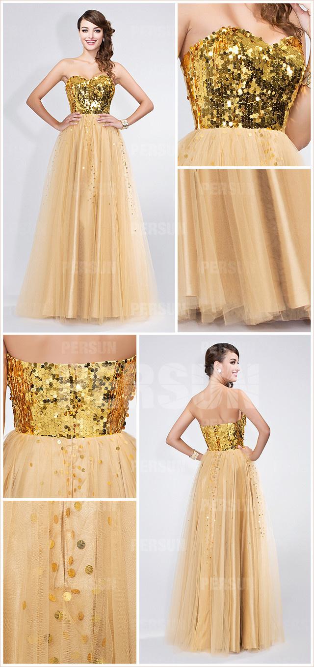 style robe dorée à paillettes en tulle pour soirée mondaine