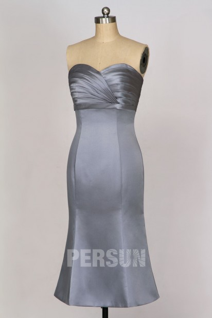 Robe de cocktail satin gris fer