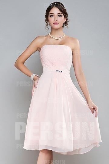 Robe demoiselle d'honneur courte à bustier drapé en mousseline rose pâle