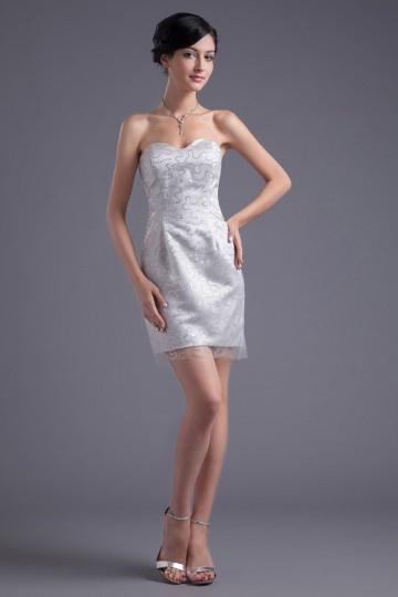 Robe demoiselle d'honneur en tulle à motif corail gris