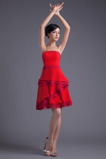 Robe demoiselle d'honneur rouge en mousseline à volants