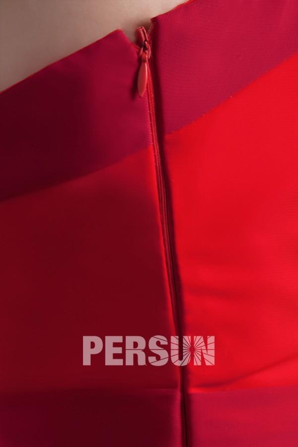 Robe cocktail rouge bustier à volants