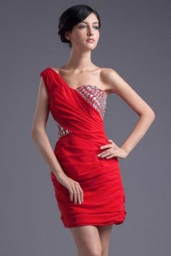 Mini robe demoiselle d'honneur asymétrique stras