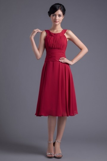 robe rouge pour mariage invité plissé col américain