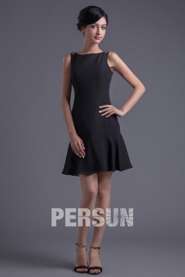 Petite robe noire mousseline dos nu en V