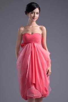 Robe demoiselle d'honneur en mousseline rose décolleté en cœur