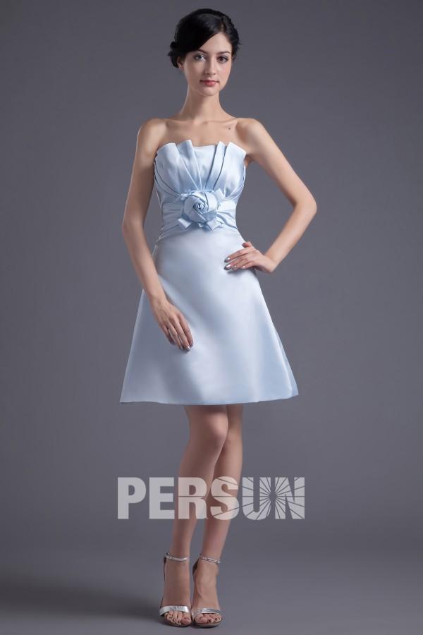 Robe d'été pour demoiselle d'honneur en satin bleu bustier en ruché dressé sans manche