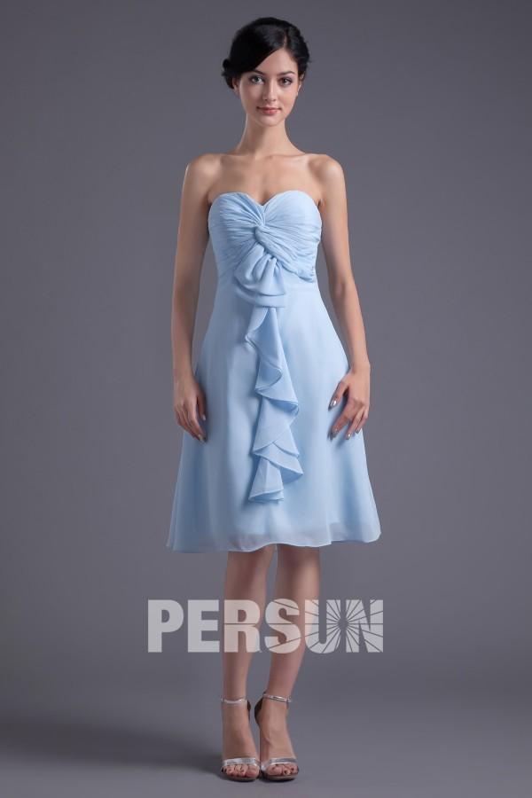 Robe demoiselle d'honneur en mousseline bleu décolleté en coeur Ruchées froufrou