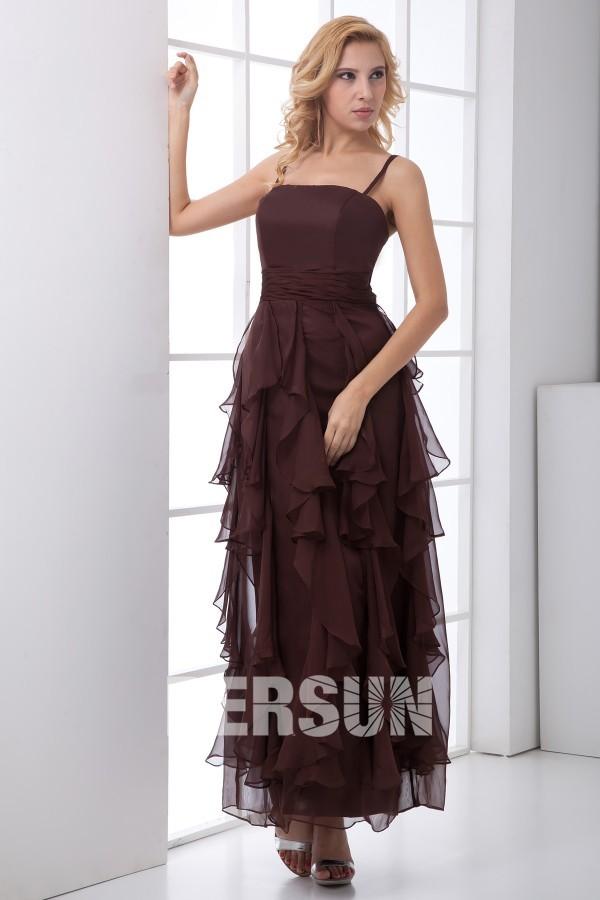 robe cortège mariage brun à bretelle fine et jupe froufrou à volant