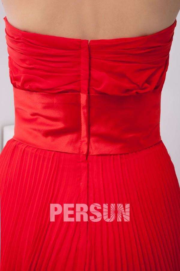 Robe longue rouge plissée simple empire à nœud papillon pour mariage été