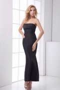 Simple Strapless Bowknot Satin Mermaid Ankle Length Formal Bridesmaid Dress