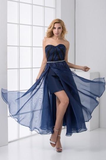 Robe bleu chic bustier ruchée ornée de strass fente latérale