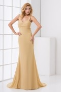 Sexy Backless Straps Sweetheart Ruched Chiffon Formal Bridesmaid Dress