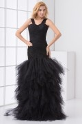Elegant Straps Ruched Tiers Tulle Evening Dress