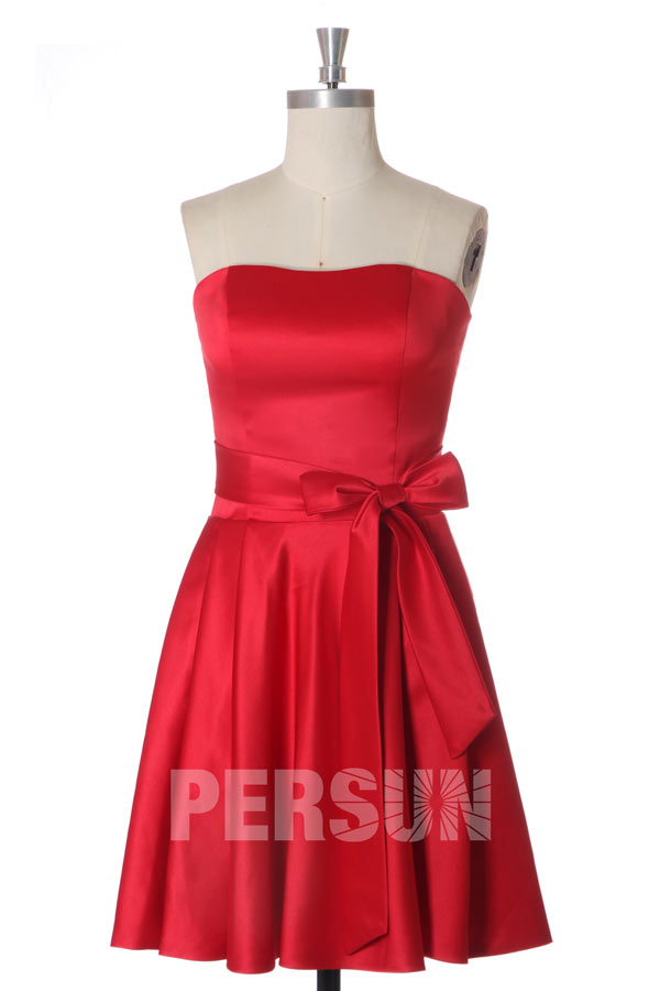 robe chic rouge simple bustier droit pour mariage