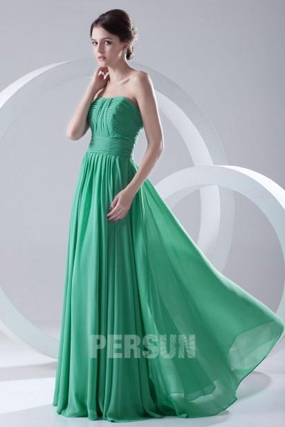 Robe chic à bustier plissé mousseline verte turquoise