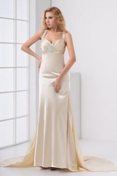 Robe longue avec bretelles sirène à traîne satin élastique dorée