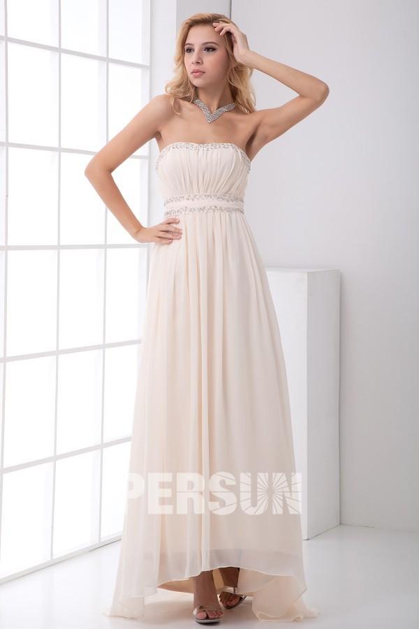 robe de cocktail simple longue nude bustier plissé embelli de strass
