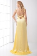 Sexy Backless Straps Elastic Woven Satin Evening Dress