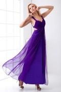 Sexy Backless Straps Split Ruched Chiffon Evening Dress